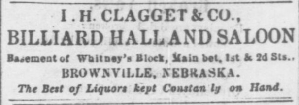 I. H. Clagget & Co. Billiard Hall and Saloon.  Saloon located in the Lone Tree Saloon Building in 1867.