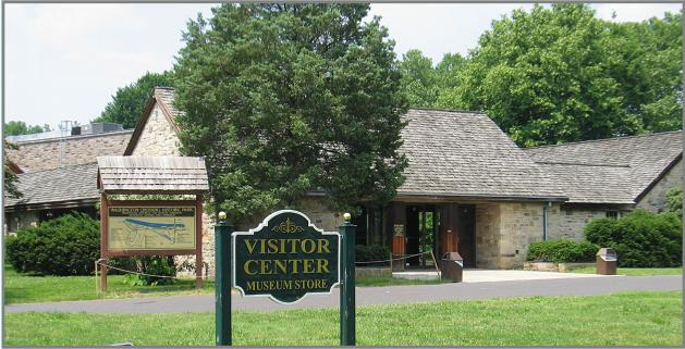 Outside of the Visitor's Center and Museum where guests can learn more through visual artifacts from the Revolutionary War.