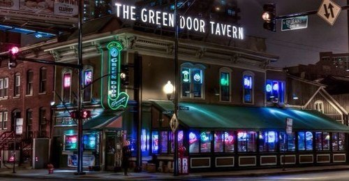 Green Door Tavern at night