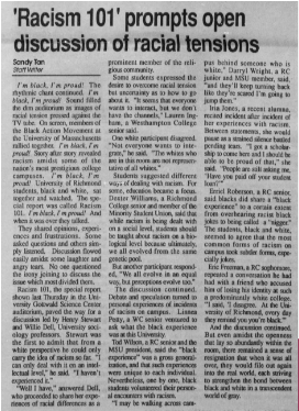 """An article from Richmond's student run newspaper, """"The Collegian,"""" describing an event held in 1990 in which students had an open discussion about racial tensions on campus."""
