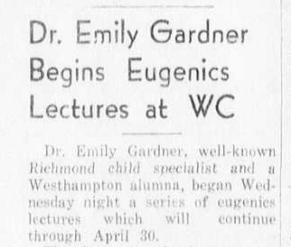 """An announcement from 1935 in Richmond's student run newspaper, """"The Collegian,"""" about a lecture sponsored by the sciences about eugenics."""