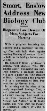 """An article from Richmond's student run newspaper, """"The Collegian,"""" describing the school's biology club from 1937 that was focused on the biological differences between races."""