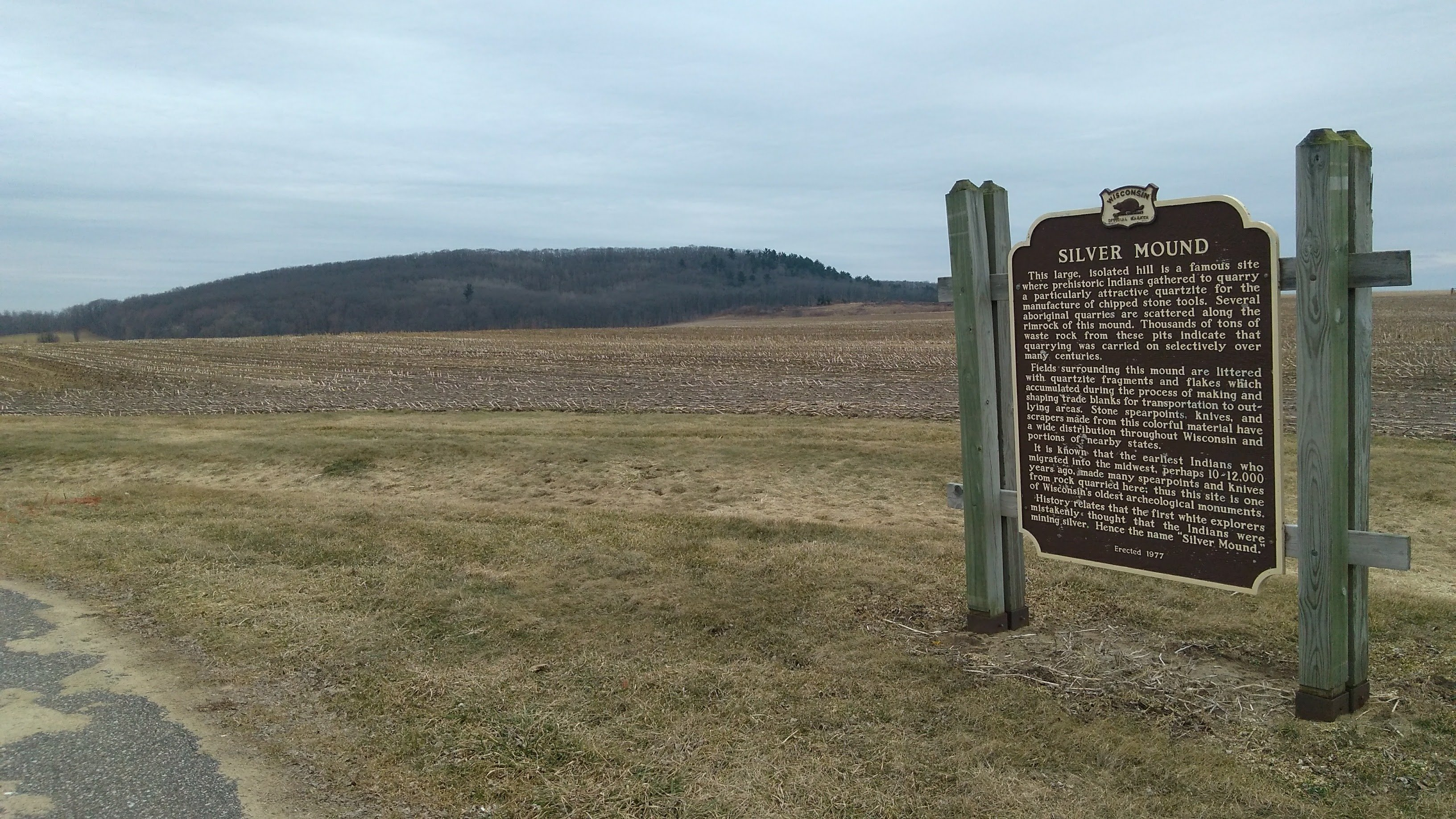 Silver Mound historic marker and view from the road.
