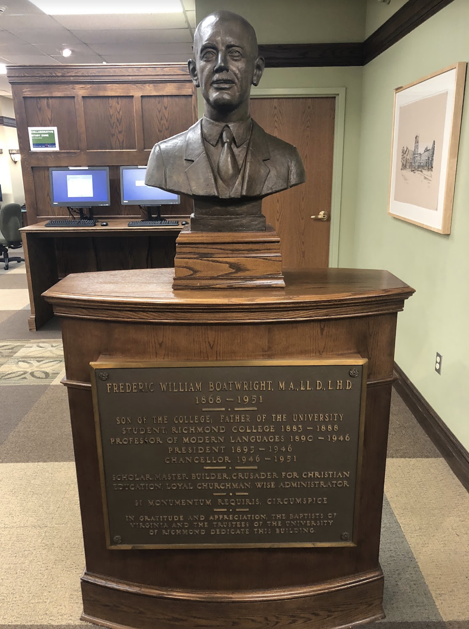 This bust details some of the achievements that Frederic William Boatwright accomplished in his lifetime, as well as detailing his tenure as president of the University of Richmond.