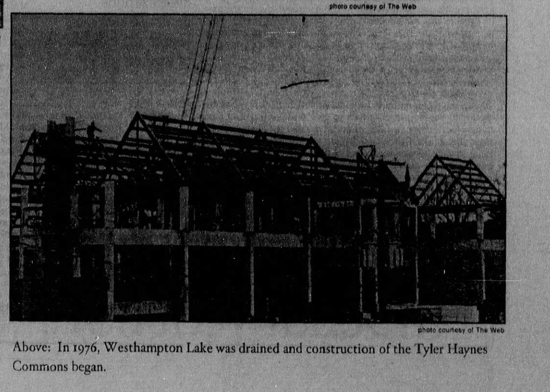 The construction of the Tyler Haynes Commons in 1976, taken from the University of Richmond Collegian. The building was named after Tyler Haynes as a result of his generous contributions, which he desired to be used to create a central student hub.