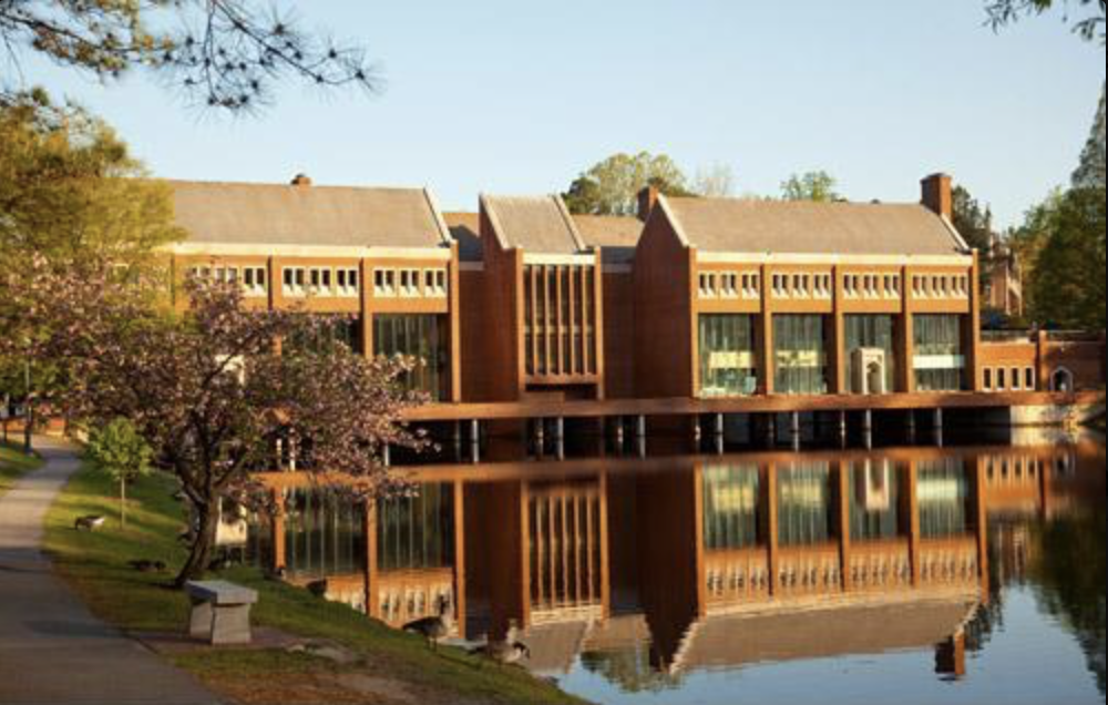 Front view of the Tyler Haynes Commons, overlooking the Westhampton Lake. This building serves as a bridge between the two sides of campus, Westhampton and Richmond College.