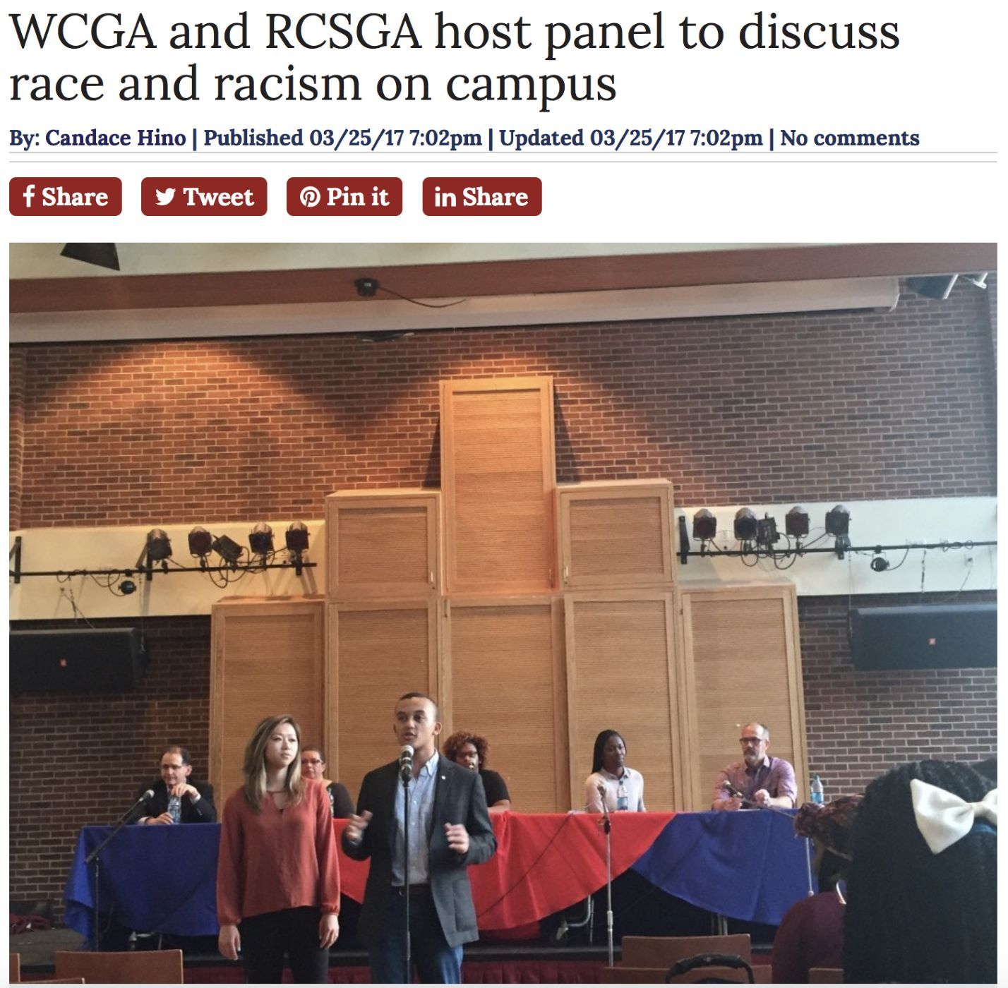 University of Richmond Collegian article from March 2017 in response to a recent panel discussion on campus race and racism. This is one of many examples of events promoting diversity and inclusivity that take place in the Tyler Haynes Commons.