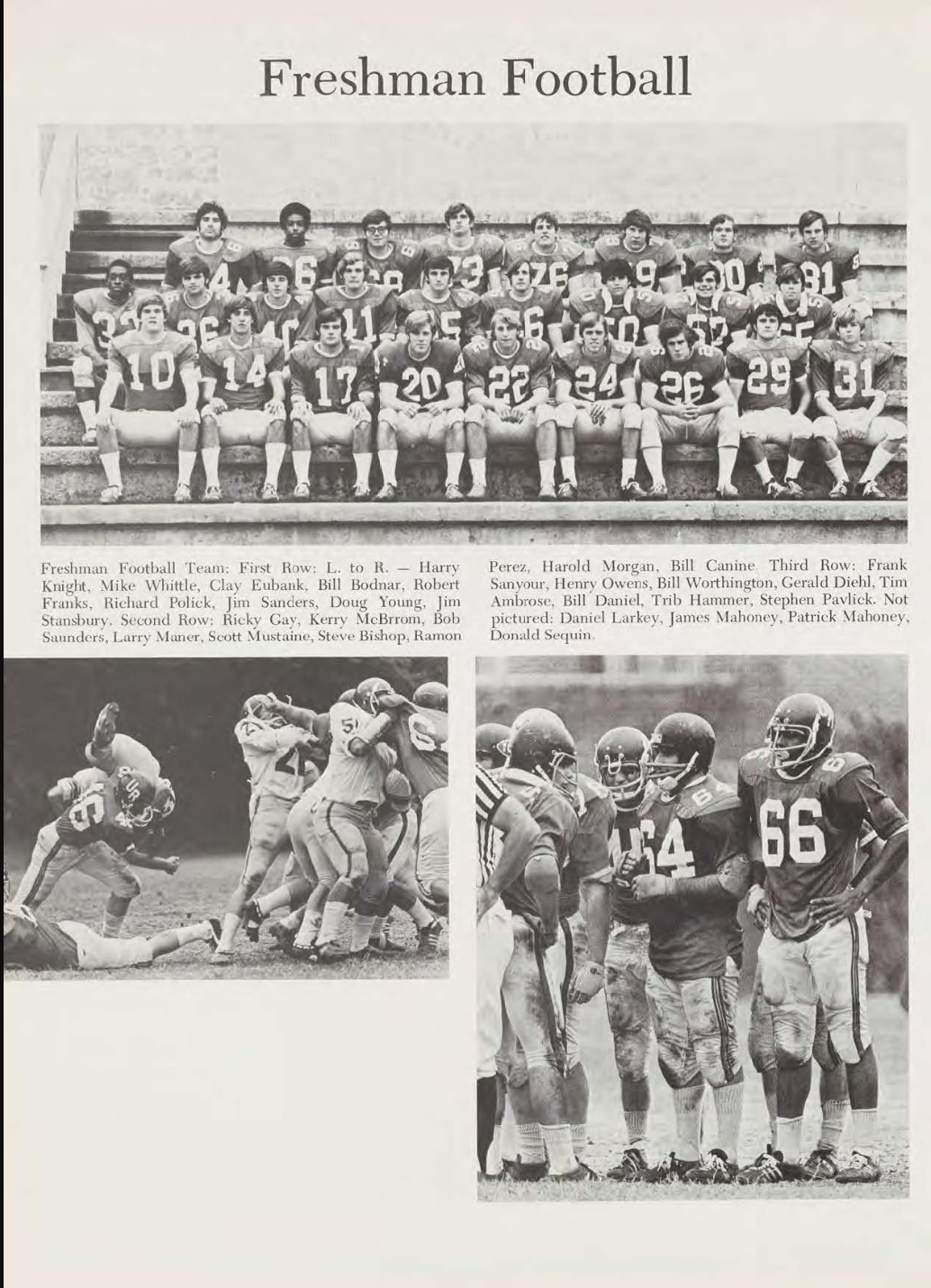 This photo was taken from the 1972 yearbook and features two black football players, Ricky Gay and Henry Owens.