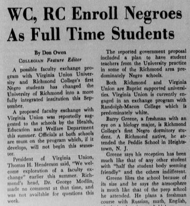 A Collegian article from 1968 about the arrival of the first black students on the main campus. (Source: Race & Racism Project)