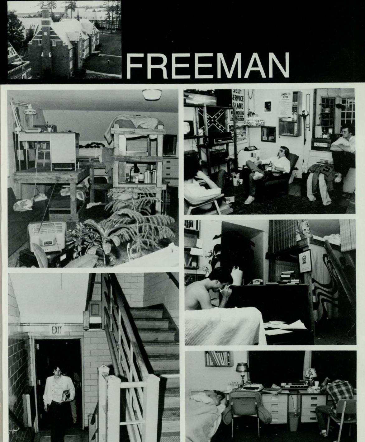 A photo from the 1981 yearbook of a Confederate flag hanging in a dorm room in Freeman Hall. (Source: Race & Racism Project)