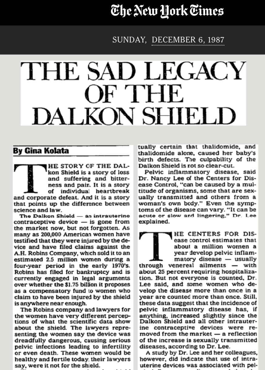 A 1987 article from The New York Times about the legacy of the A.H. Robins Company's Dalkon Shield. (Source: The New York Times)