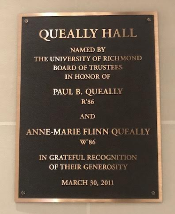 The Robins School of Business exemplifies the centering of whiteness on campus. It is home to over 100 plaques, each one primarily commemorating a white male.