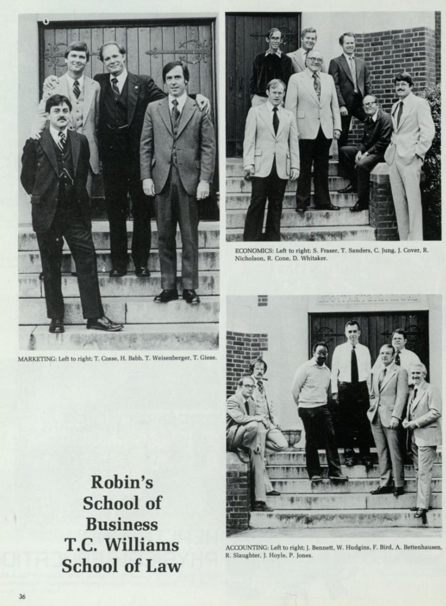 This photo is from the 1980 yearbook and features Dr. Ray Slaughter, the first black professor in the business school, in the bottom right with the accounting department faculty members. (Source: Race & Racism Project)