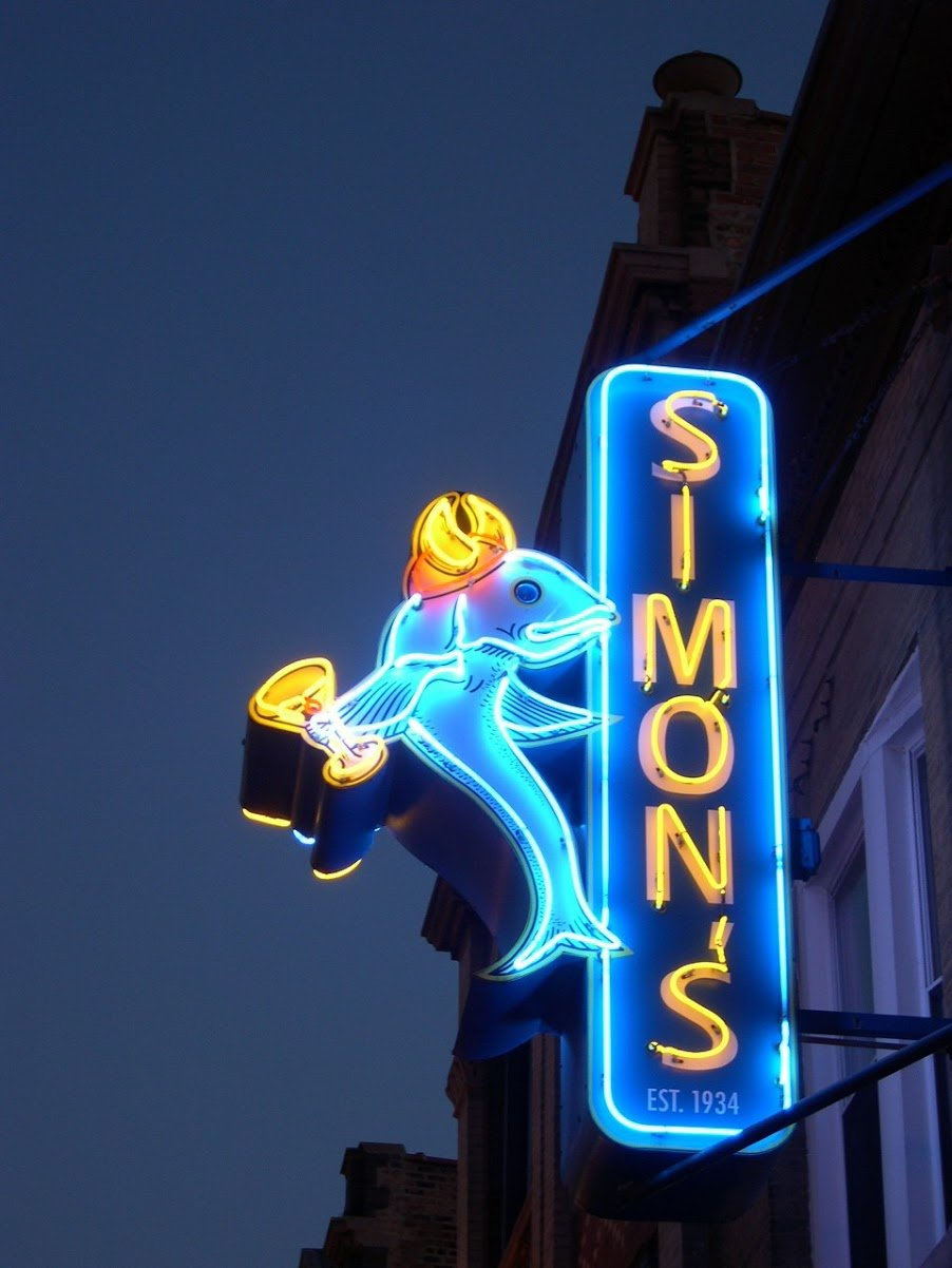 Simon's famous fish marquee.