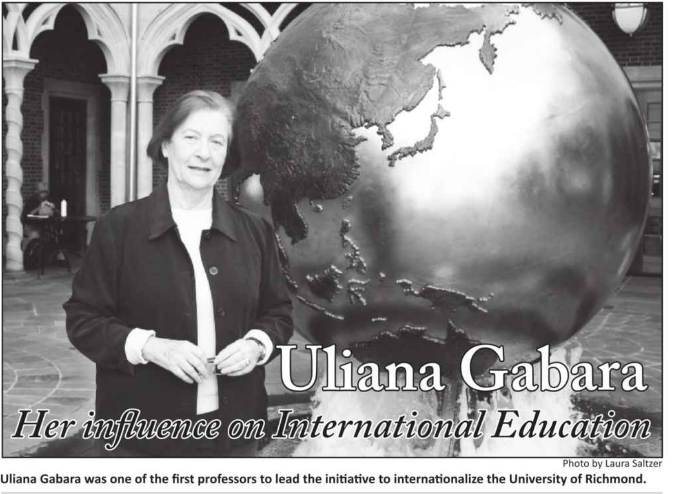 A photograph of Dr. Gabara in the courtyard that bears her name.