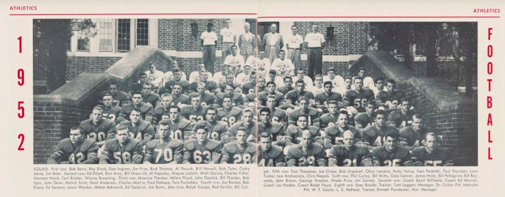 Richmond Team Football Photo from 1952, includes Esau Brooks in the top left corner. (Source: Race & Racism Project)