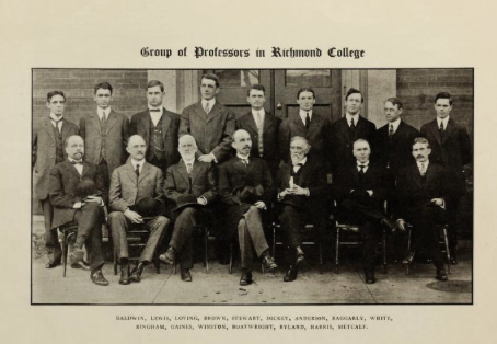 Robert Ryland (front row, third from right) in undated photo with later Richmond College faculty (Source: A Richmond College Picture Book, 1911)
