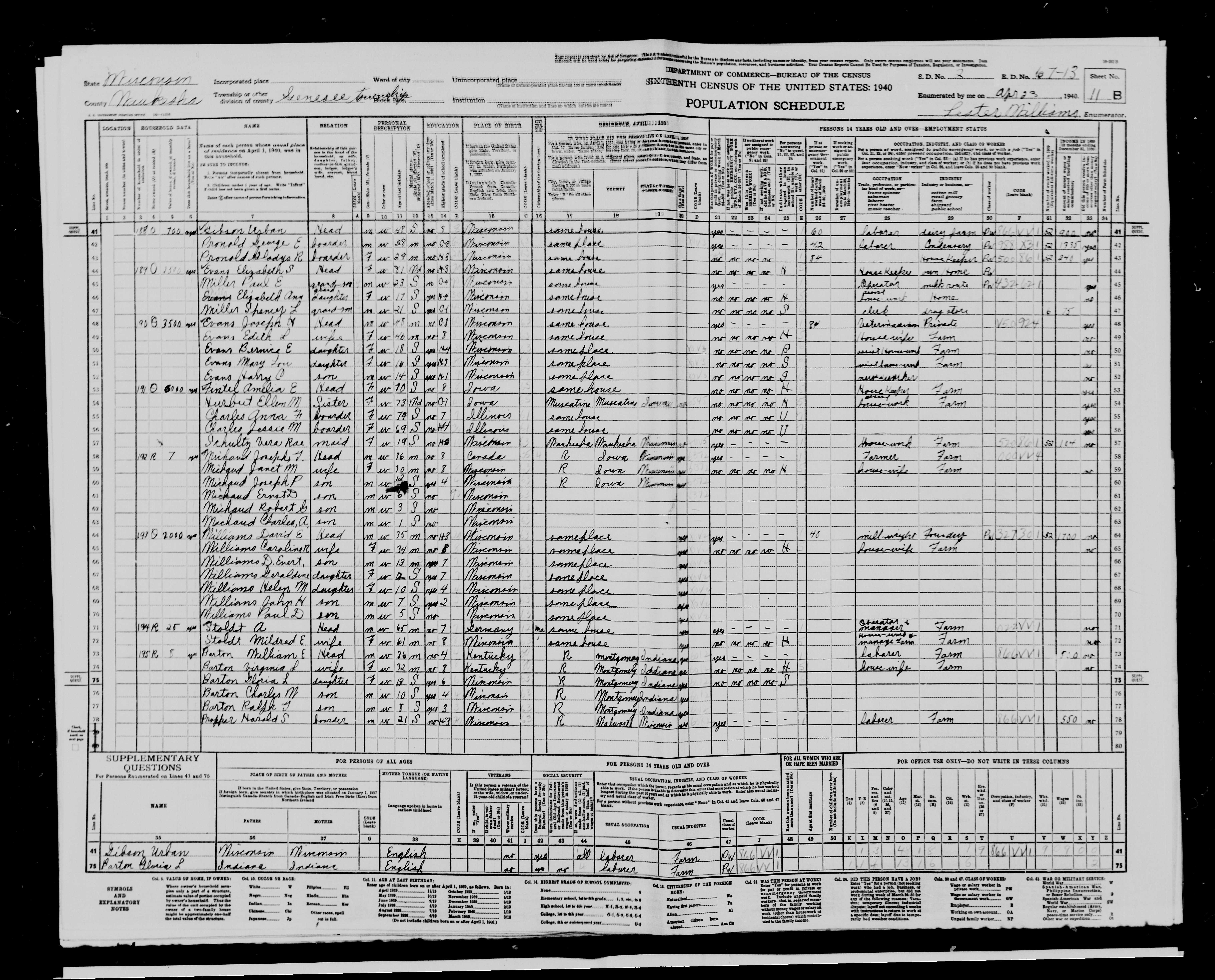 1940 Census showing Joseph (with his middle initial incorrectly put as a U instead of the correct H) with his family