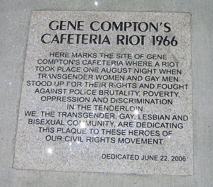 Gene Compton's Cafeteria Riot 1966 marker private work of Gaylesf, public domain