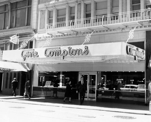 http://thetender.us/2009/06/25/remembering-the-comptons-cafeteria-riot/              Compton's Cafe Storefront photo Wikipedia entry with link