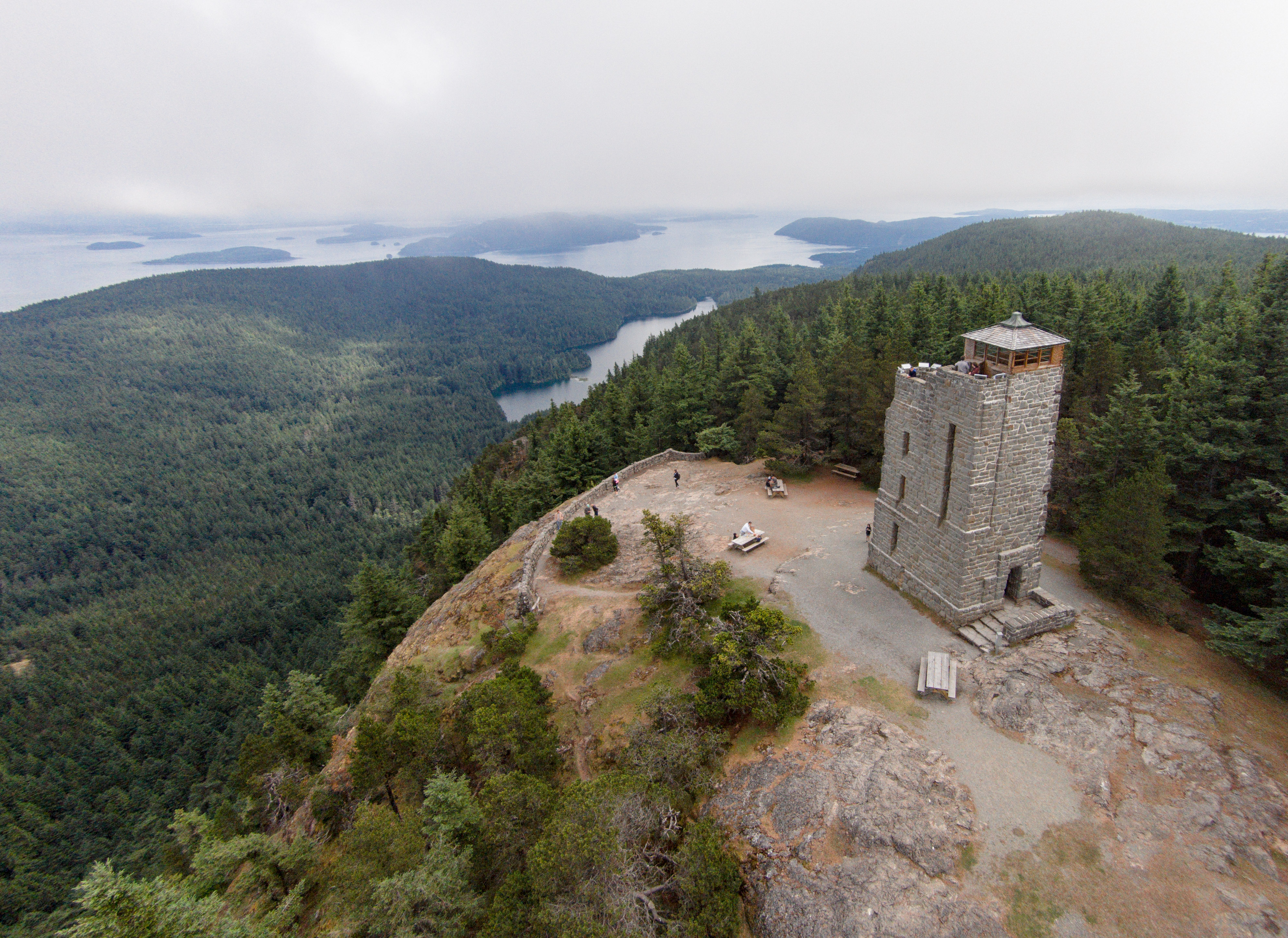 The summit of Mount Constitution offers sweeping views of the surrounding landscape. Visitors are allowed to climb inside the tower.