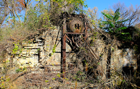 The ruins of what had once been a major salt-producing factory, on the site of the current J.Q. Dickinson works