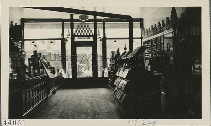 Inside the Earl H. Corlett Grocery, 1928