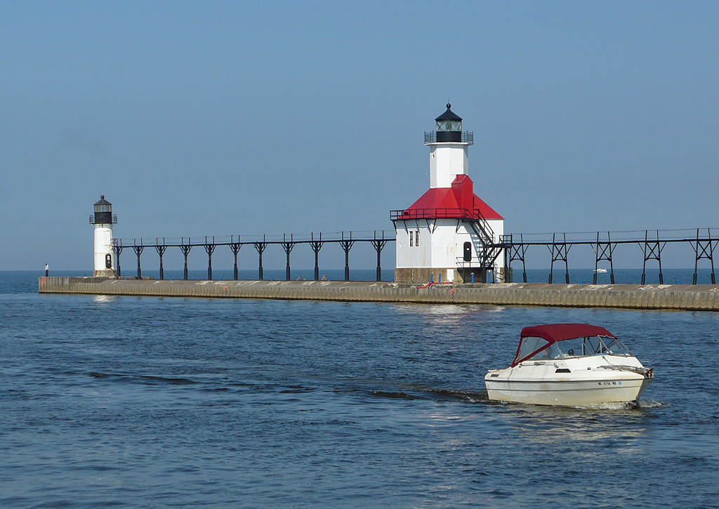 The St. Joseph North Pier Inner and Outer Lights were built in 1907.