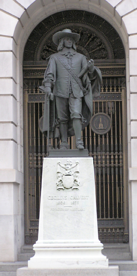 Statue of Cecilius Calvert (1606-1675), First Proprietor of Maryland and Second Lord Baltimore - West Entrance. Photo from Maryland State Archives.