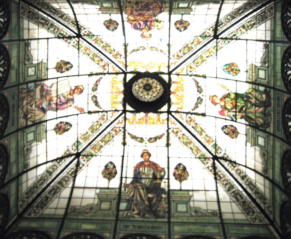 Art Glass Skylights - North Stained Glass Dome. These skylights were original to the courthouse and installed in 1900 towards the end of construction. They were restored in the late 20th century. Photo from Maryland State Archives.