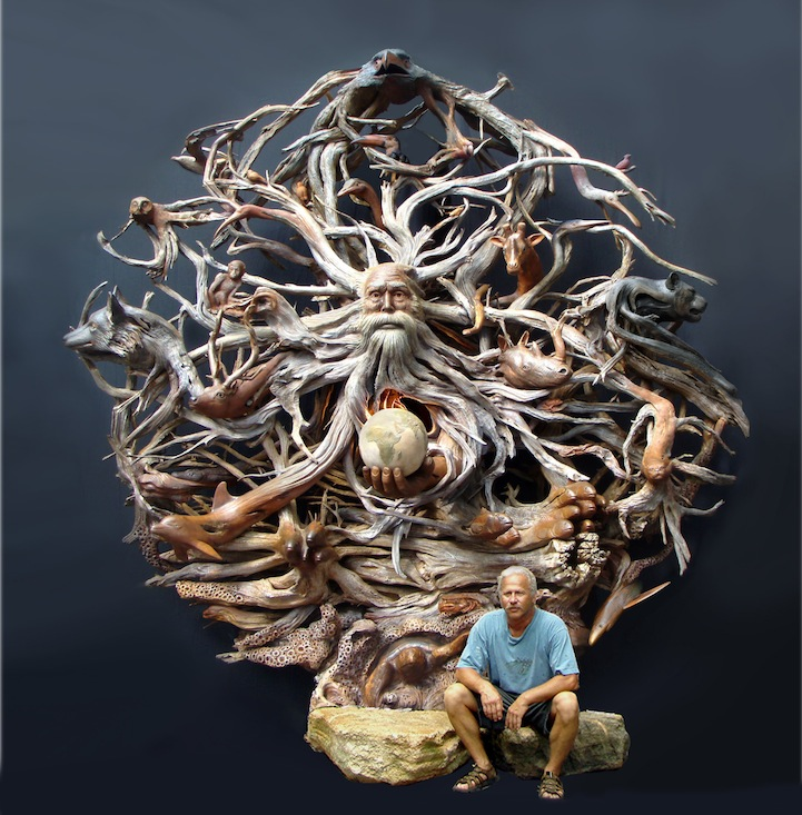 A Matter of Time, carved from cedar driftwood, and sculptor Paul Baliker. Credit: HotSpot Media