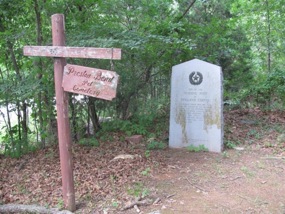 The site of Coffee Trading Post today and the cemetery sign for Preston, and where Holland is buried.