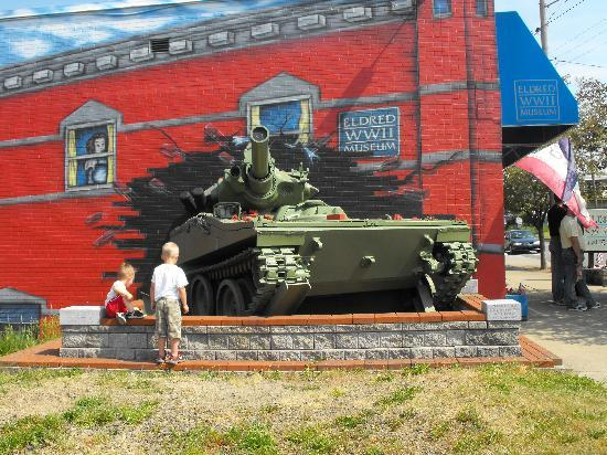 A replica WWII tank is featured outside the entrance to the museum.