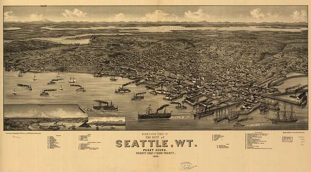 An old representation of how the Port of Seattle looked when the team left in 1922.