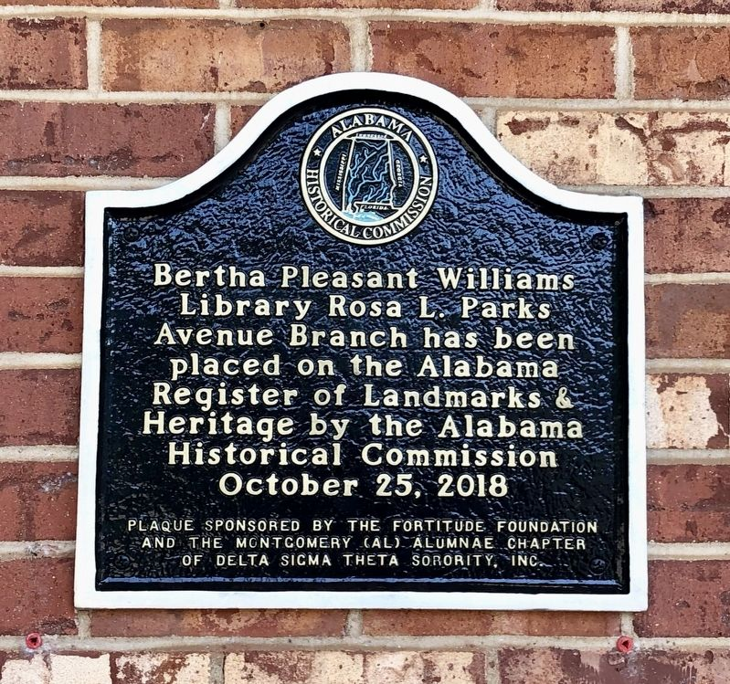 Plaque marking the Bertha Pleasant Williams library as a historical landmark in 2018