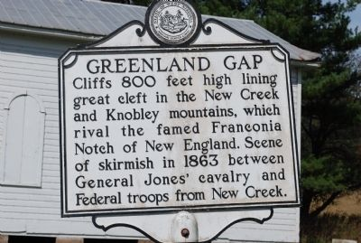 Historic marker commemorating the skirmish at Greenland Gap.