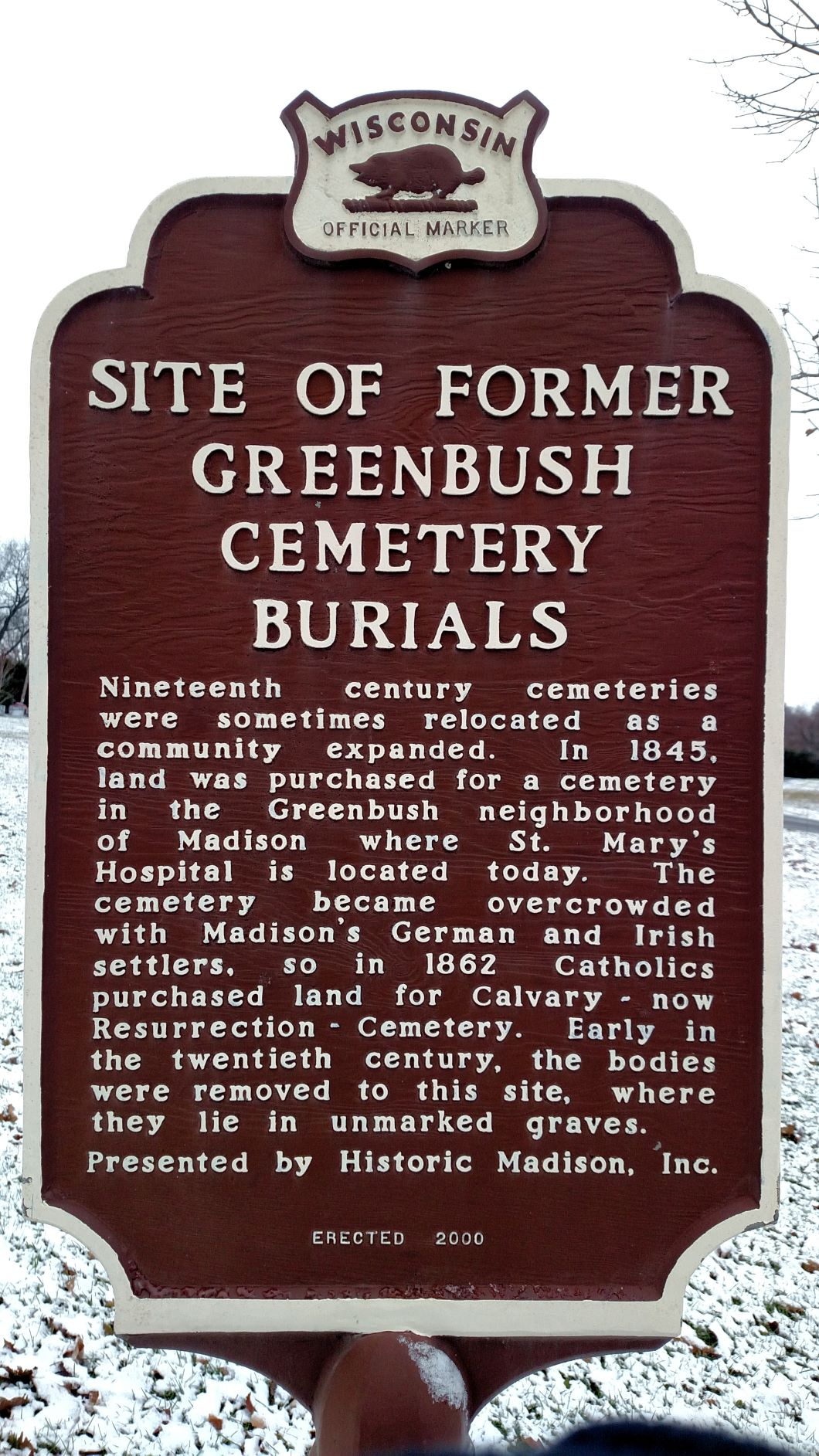 Historical marker at the site of reburial of Greenbush Cemetery's unidentifiable remains. Photo by Peter Wagner