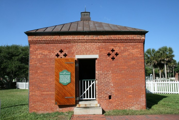 Oil Storage Building; located outside the station's picket fence and far enough away from the tower and dwellings to prevent disaster if the kerosene were to somehow ignite.