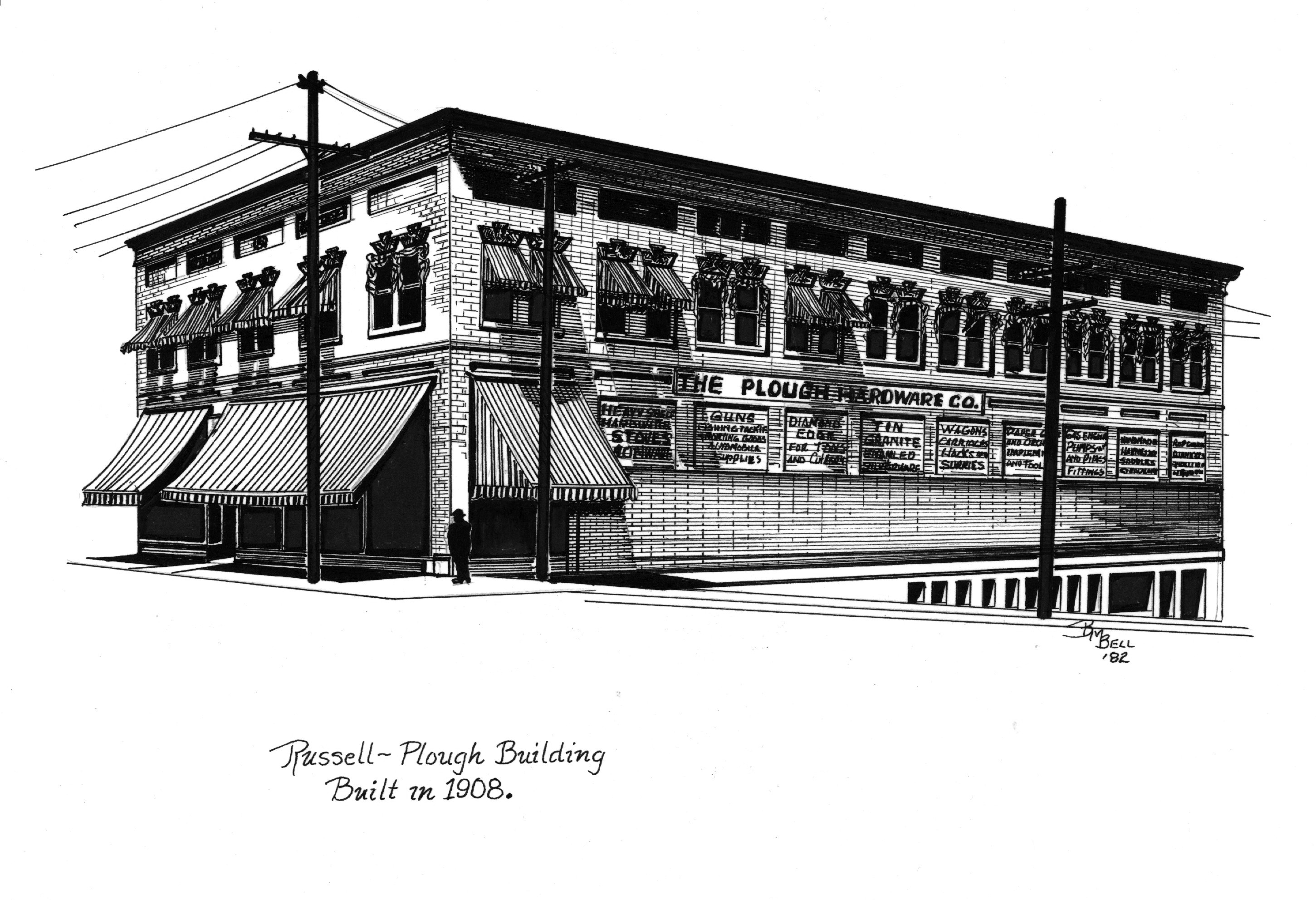 Illustration by artist Betty Bell of the Russell-Plough building as it looked at the time of its construction in 1908.