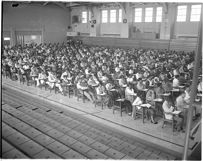 A class in session at Morgan State University, during the time it was called 'Morgan College'.