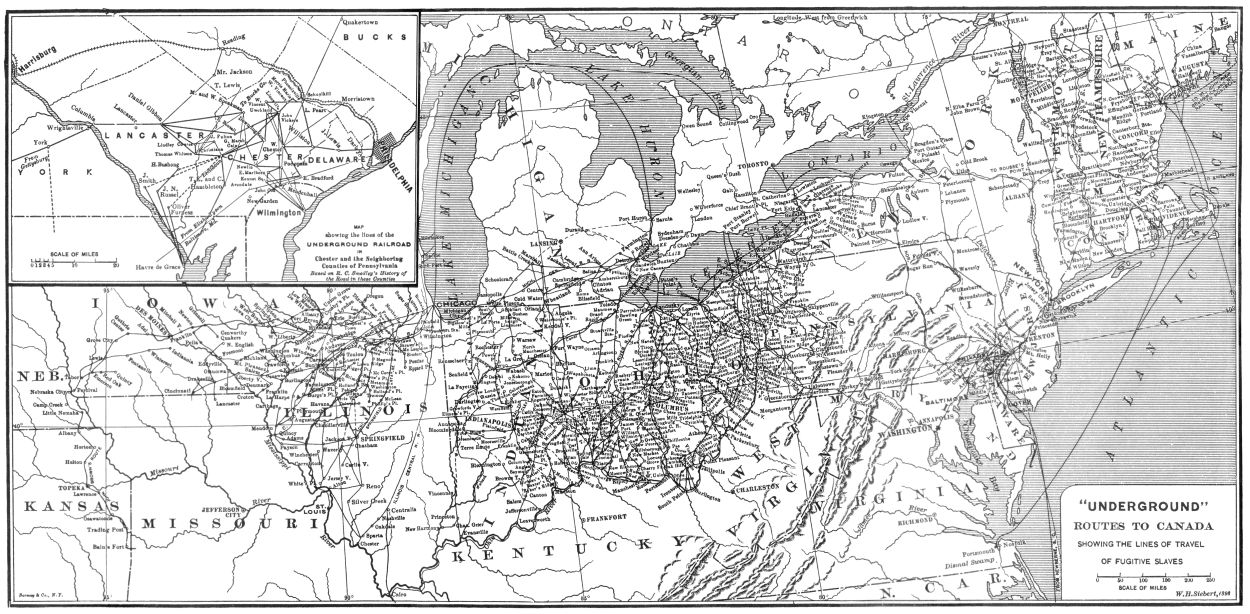Map of Underground Railroad routes across the United States.