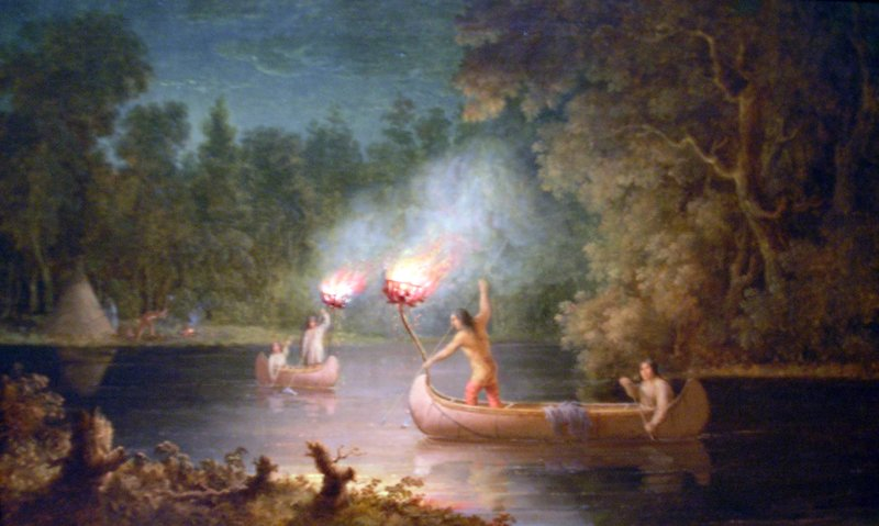 This Paul Kane painting depicts the traditional method of spearfishing.  Source:  Wikimedia Commons, https://commons.wikimedia.org/wiki/File:PaulKane-HuntingFish-ROM.jpg