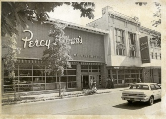 A photo of Percy Brown's as it looked on East Northampton Street in Wilkes-Barre; a popular movie theater now inhabits this space where the renowned grocery store and cafeteria once stood.