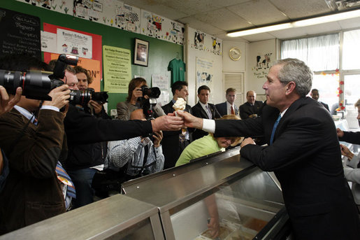 President Bush in 2006, handing out ice cream in Manning's store in Clark Summit.