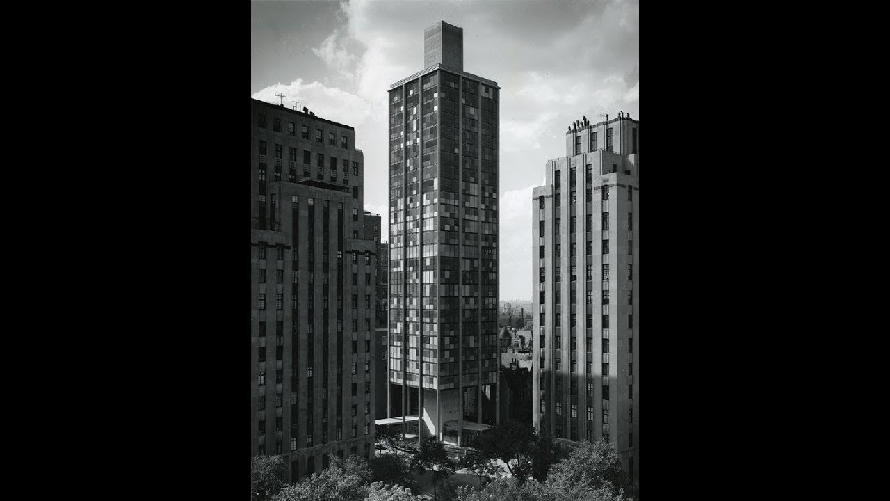 Black and white photo showing Astor Tower Hotel with its louvre blind system.
