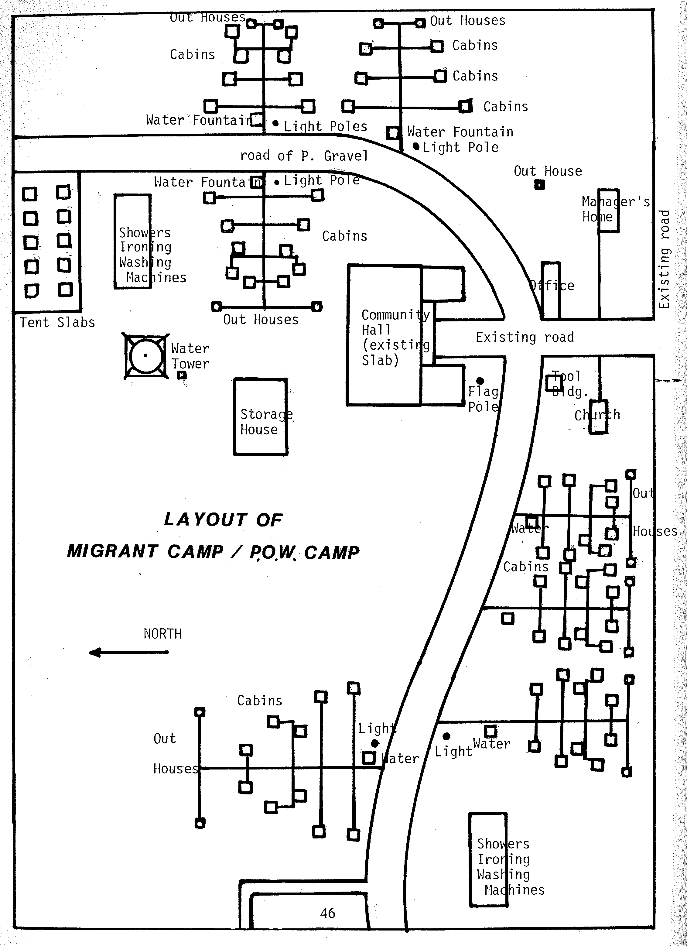 This is the original site layout of the Princeton POW Camp, which was originally constructed as a migrant labor worker camp. It was easy to convert because it was already equipped with bunks to properly house a large number of people.