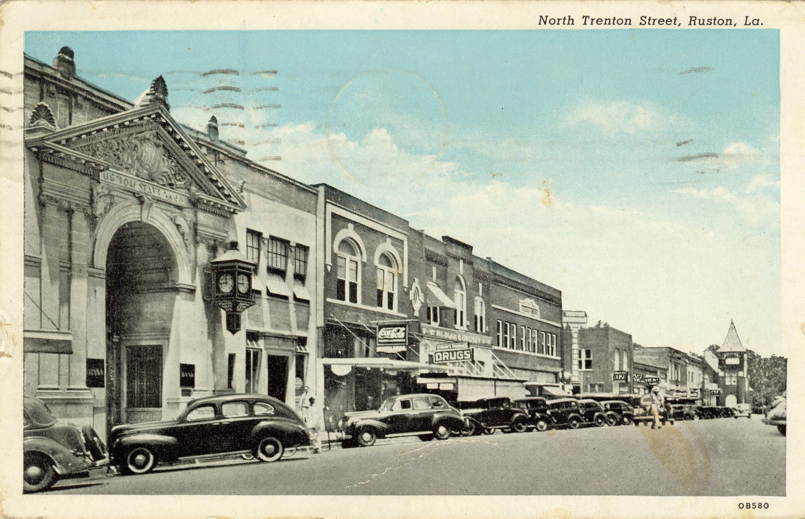 Post Card of Ruston State Bank & N. Trenton Street