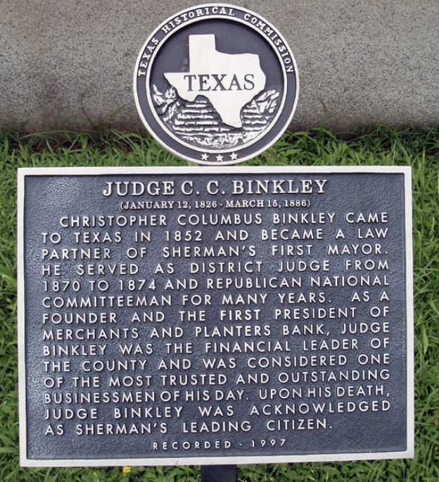 Texas Historical Commission Marker for C.C. Binkley