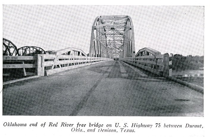 The Denison-Durant free bridge as seen from Oklahoma without national guardsmen, Texas Rangers, or barricades. Though the free bridge no longer stands today, part of the bridge has been placed in a park in Colbert, Oklahoma.