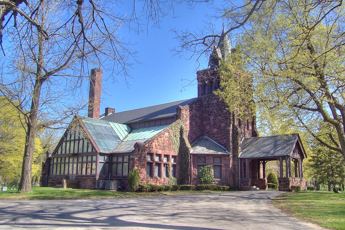 Landmark Chapel at Forest Home Cemetery.  Built in 1890 out of Wisconsin sandstone and designed by architects George Ferry and Alfred Clas. [1]